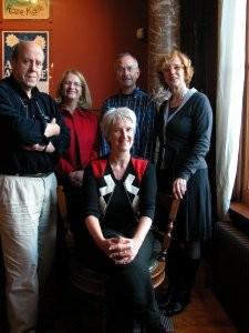 Redactiecommissie De strijdbare patiënt, vlnr: AJ Heerma van Voss, Gemma Blok, Joost Vijselaar, Michaja Langelaan. foto: M. Kaarsgaren